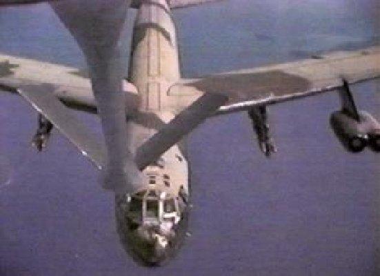 B-52, air refueling. Close up.