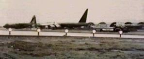 B-52, battle damaged, lands at Đà Nàng Air Base.