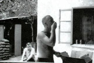Photo: Lt. O Donnell (W/O shirt) at Darlac 1966-1967, Picture supplied by J. Rapozo.