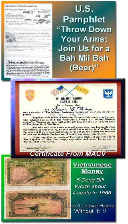 Pyramid & Camp Coryell, Ban Me Thuot; Propaganda Leaflet; MACV Certificate; SVN Money, a 5 Dong bill. 1966-1967.