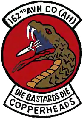 Patch: 163rd AVN Co (AH), Die Bastards Die, Copperheads.