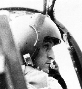 Photo: Wing Commander Larrard, Royal Australian Air Force, at the controls of the Bronco.