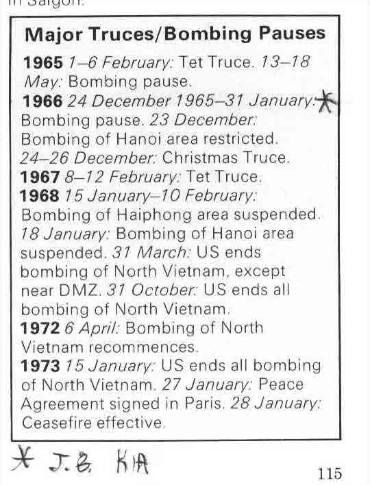 Major Truces/Bombing Pauses, 1965-1973