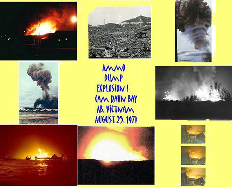 22. Cam Ranh Bay AB: I left Cam Rahn Bay in June 30th 1971. On August 28, 1971 the ammo dump went up in CRB.So I did some research for my old unit and made the attached CRB ammo dump explosions sheet for them. 1971. [Peter Halferty photo].