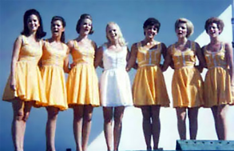 Miss America 1969, Judith Anne Ford 1969 and Court, singing.