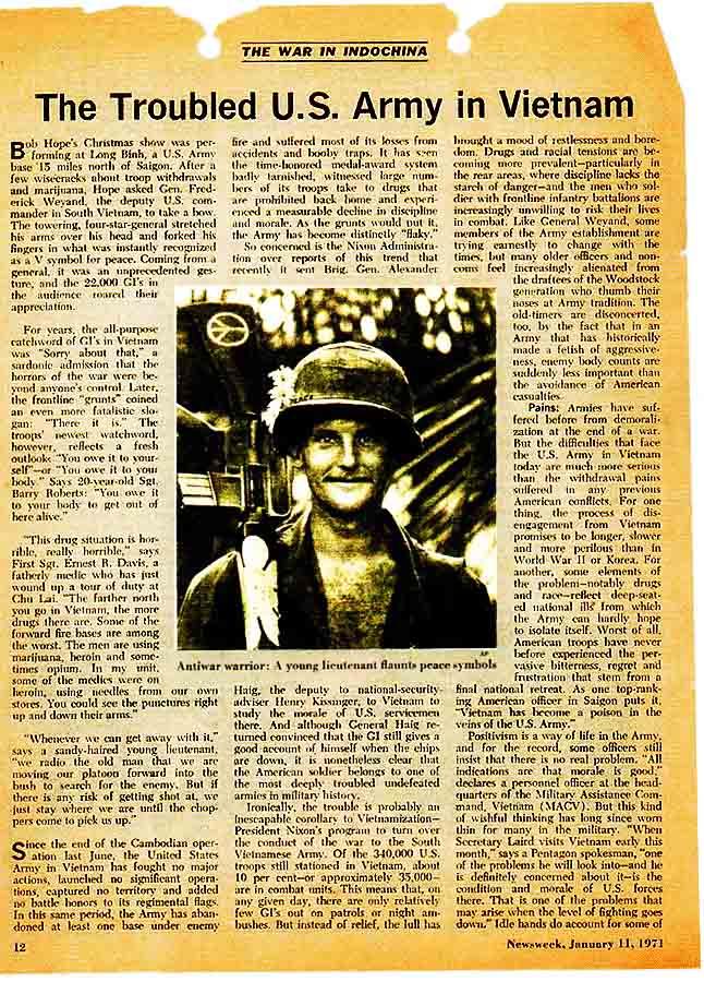 23. Da Nang AB: 366th TFW: Stars and Stripes article: The Trouble U.S. Army in Vietnam. Newsweek, Jan 11, 1971. [Peter Halferty photo].