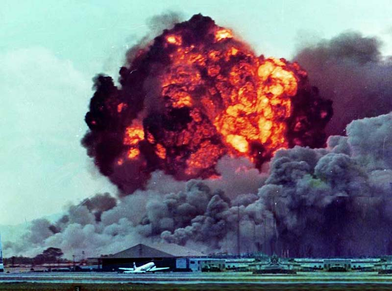 5. Da Nang AB: 366th TFW: Bomb Dump Explosions sent ringlets of shockwaves through the clouds and across the airbase. April 27-1969. [Peter Halferty photo].