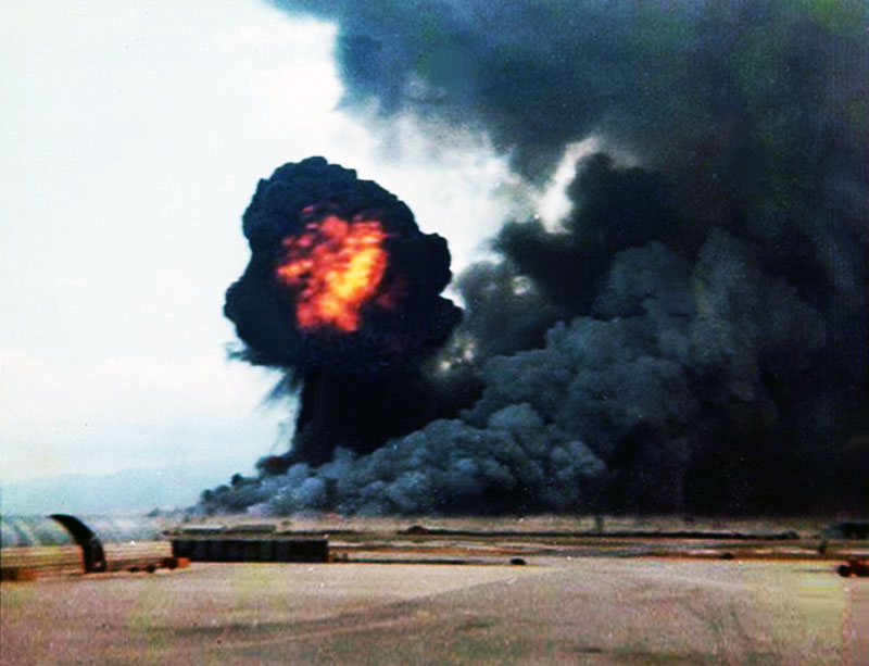 6. Da Nang AB: 366th TFW: Just when I thought I had seen the worst, it was suddenly like Hiroshima with incredible mushroom clouds and fireballs. April 27-1969. [Peter Halferty photo].