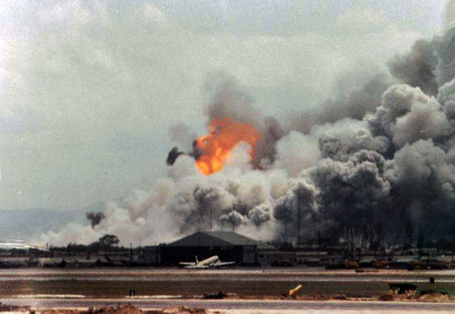 4. Da Nang AB: 366th TFW: Flightline view. Debris, shrapnel, and smoldering earth-clods rained down across the airbase. April 27-1969. [Peter Halferty photo].