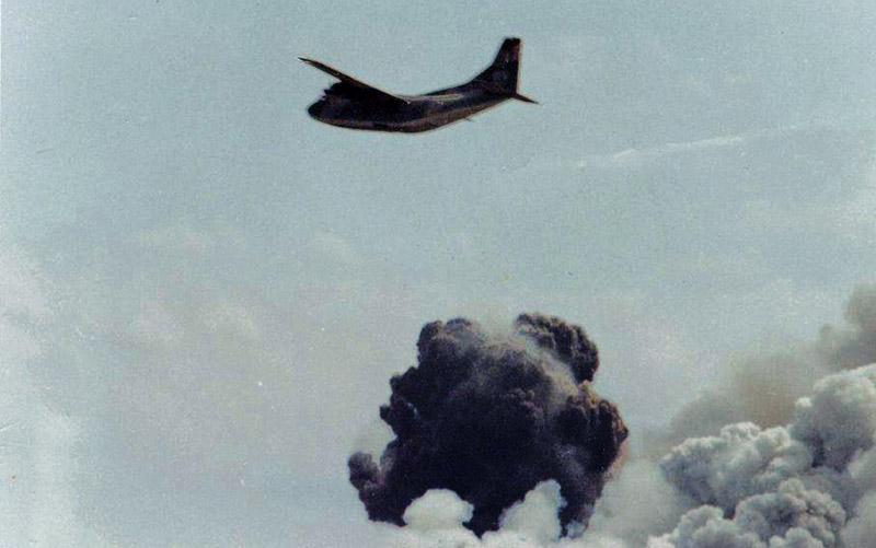 8. Da Nang AB: 366th TFW: C-123 getting out of Rocket City. April 27-1969. [Peter Halferty photo].