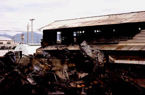 13. Da Nang AB, 366th TFW: Burnt to the ground and background fire gutted. 1969-1970. [Photo by Ed Burchard].