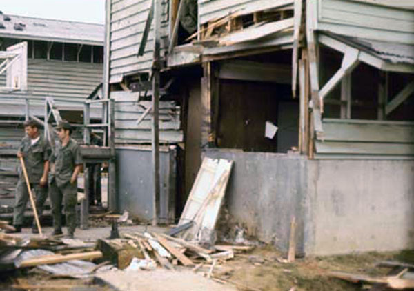16. Da Nang AB, 366th TFW: Still standing in same area awed by the damage. 1969-1970. [Photo by Ed Burchard].