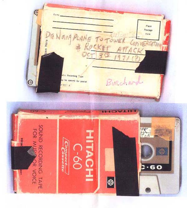 20. Da Nang AB, 366th TFW: Mailing off cassette tapes of rocket attack. 1969-1970. [Photo by Ed Burchard].