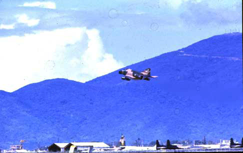 8. Da Nang AB, 366th TFW:Morning F-4 Phantom airborne. 1969-1970. [Photo by Ed Burchard].