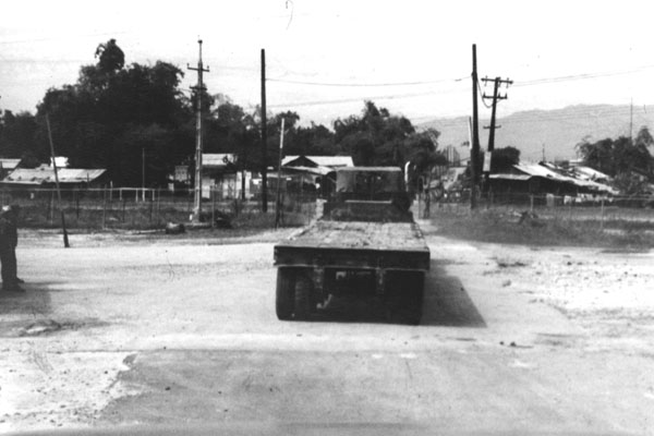 12. Da Nang AB, 366th TFW: Flatbed trailer truck. 1969-1970. [Photo by Ed Burchard].