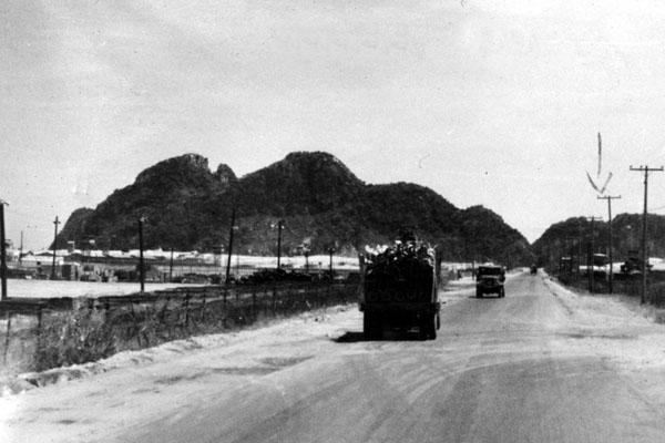 13. Da Nang AB, 366th TFW: Trucks on road. 1969-1970. [Photo by Ed Burchard].