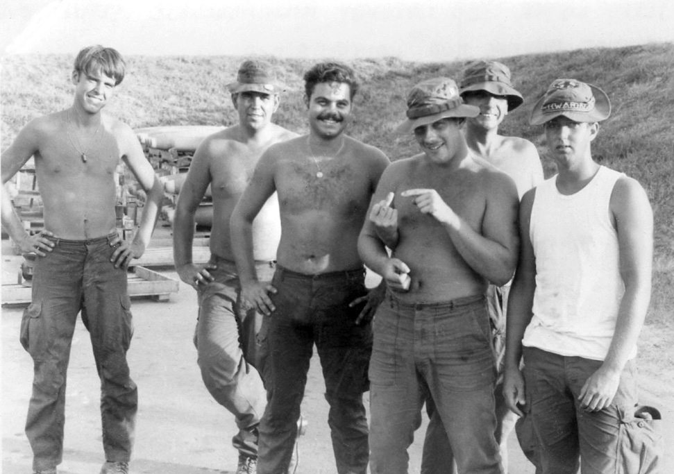 9. Da Nang AB: Jerry Weyer,Ted Lazenby, Rich Marchese, Steve Love, Charlie Phillips, and Vaugh Blackwell. 1971. [Photos by Ken Frick].