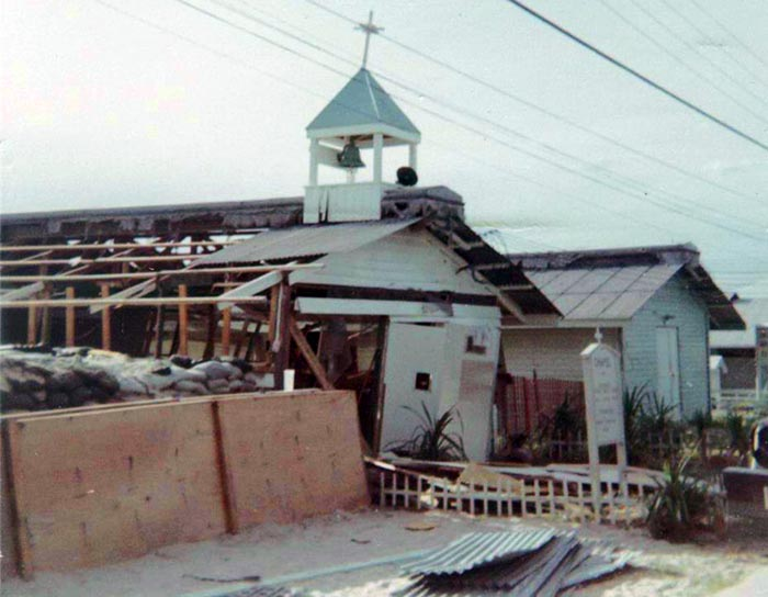 18. Cam Ranh Bay AB: US Army 6th Convalescent Hospital and chapel damage by Sapper Attack! 1969. [Peter Halferty photo].