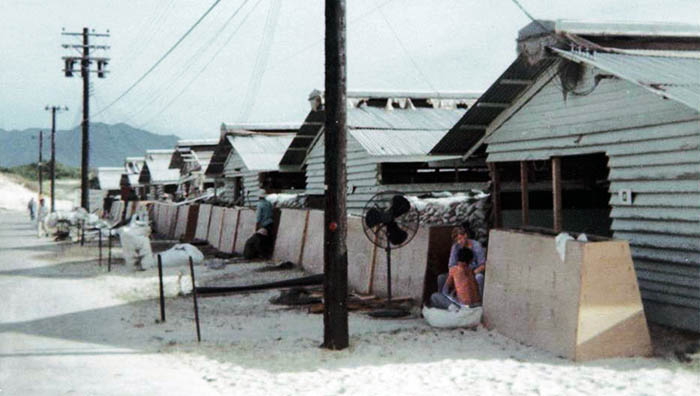 19. Cam Ranh Bay AB: US Army 6th Convalescent Hospital damage by Sapper Attack! 1969. [Peter Halferty photo].