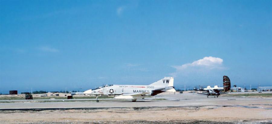 Da Nang Airbase, USMC F-4 Phantom taxiing with drag-chute.
