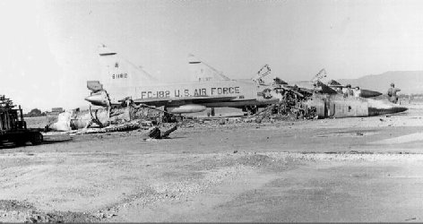 F102 debris, sapper attack/Photo by Fred Reiling, LTC, USAF (Ret)