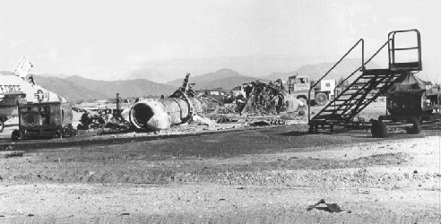 F-102 debris, sapper attack/photo by Fred Reiling, LTC (ret)