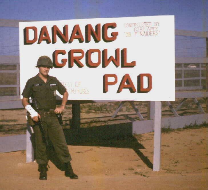 Da Nang Air Base, 1965-1966: USAF Sentry Dog, Da Nang Growl Pad. Don Poss in photo.