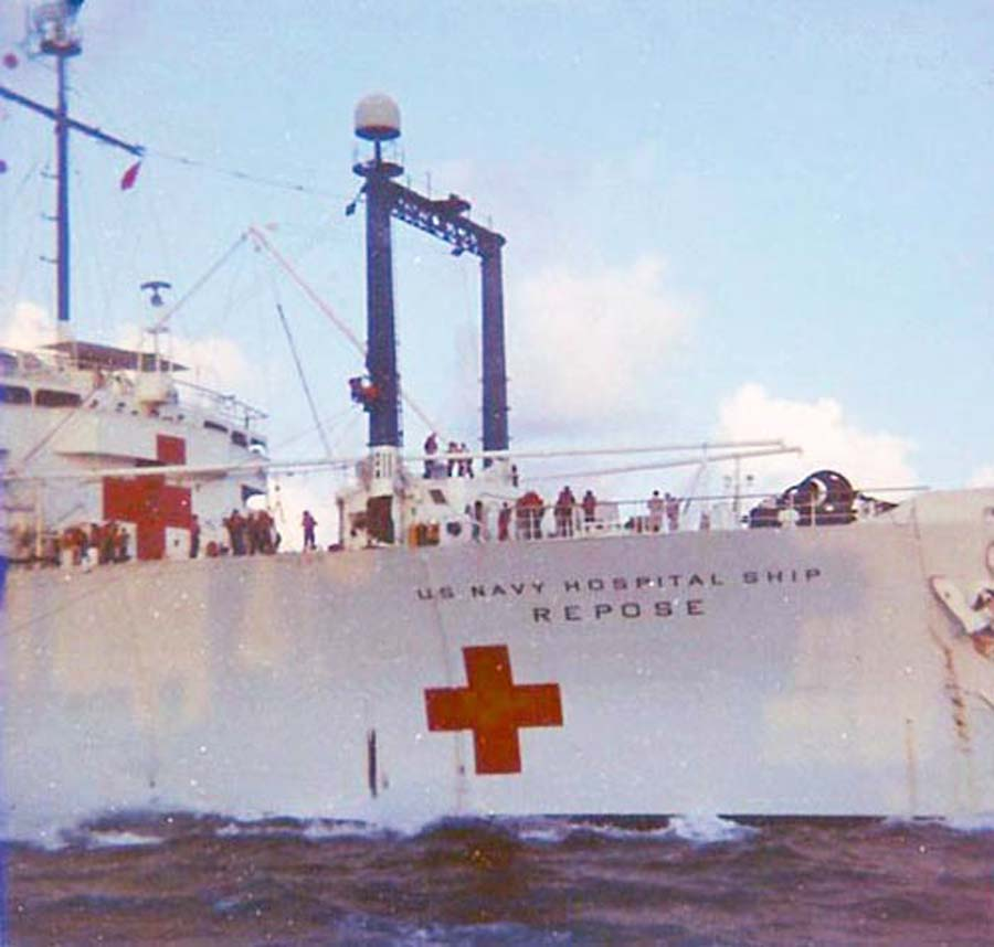 Da Nang Harbor. USS Repose, hospital ship, Up Anchor.