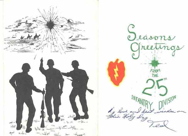 Vietnam Christmas Card: Seasons Greetings, From the 25th Infantry Division.