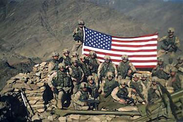 82nd ABN adopted holding the WTC flag�in Afghanistan