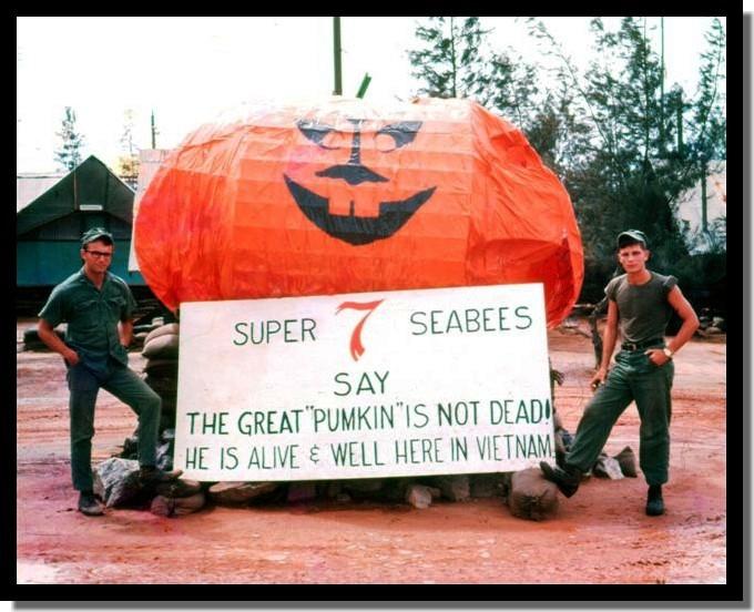 Halloween 1967, Da Nang. My friends EA-3 Mike Wagner & PCSNCarroll Brousssard built the pumpkin & I did the sign.