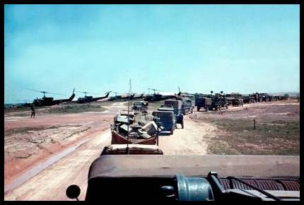 RESUPPLY CONVOY ENTERING DONGHA FROM PHU BAI 1966