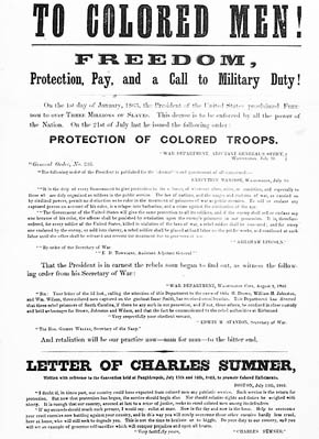 U.S. Civil War posters: To Colored Men! Freedom, Protection, Pay, and a Call to Military Duty! Letter of Charles Sumner.