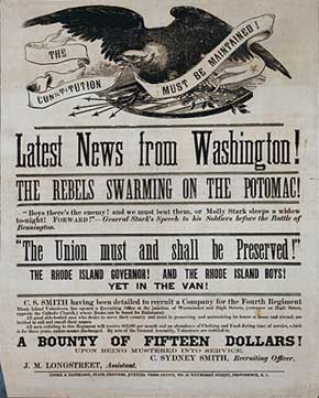 U.S. Civil War posters: The Constitution Must Be Maintained! Latest News from Washington! The Rebels Swarming on the Potomac! The Union must and shall be Preserved. A Bounty of Fifteen Dollars! upon being mustered into service. C. Sydney Smith, Recruiting Officer.