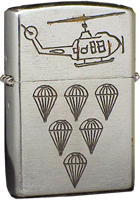 Zippo: (Front) HUEY Helicopter. Six Parachutes