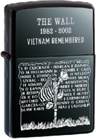 Zippo: (Front) THE WALL, VIETNAM Remembered, 1982-2002.