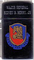Zippo: (Front) Major General Sidney B. Berry Jr.