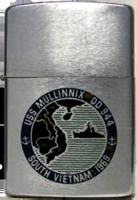 Zippo: (Front) USS MULLINNIX DD 944. SOUTH VIETNAM 1969
