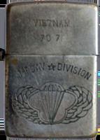 Zippo: (Front) VIETNAM, 70-71, 1st CAV Division, [Parachute Wings], 1970-1971