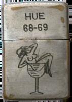 Zippo: (Back) HUE (Nude girl in a glass) 1968-1969