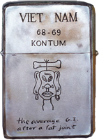 Zippo: (Front) VIET NAM, KONTUM. (Cartoon) The average G.I. after a fat joint. 1968-1969