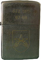 Zippo: (Front) 632nd SPS, QC Patch, Crossed Pistols, 1967-1968
