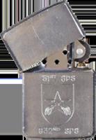 Zippo: (Front) 51st SPS, 632nd SPS (Crossed Pistols)