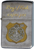 Zippo: (Front) Dogs / Fish 05 / 05 / 05 [CREST of [VII / 7th]