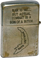 Zippo: (Front) War Is Hell. But actual combat is a son of a bitch. (Map South Vietnam)