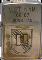 Zippo: (Front) Viet Nam 1966-1967 Vung Tau (Captains bars)
