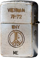 Zippo: (Back) VIETNAM, 1971-1972, WHY (Peace Sign) ME