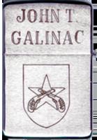 Zippo: (Back) JOHN T. GALINAC, PHU CAT, VIETNAM, QC Patch and Crossed Pistols, 1968-1969-1970