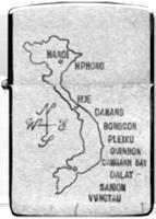 Zippo: (Front) [Map N/S VIETNAM]