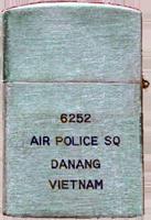 Zippo: (Front) (Back) Don Poss. 6252nd Air Police Squadron, Da Nang AB, 1966.